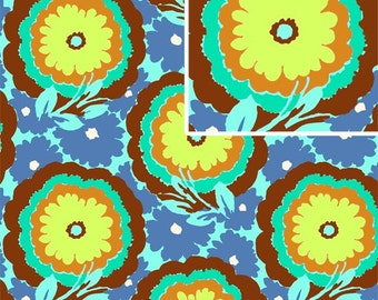 11001 - Amy Butler Soul Blossoms collection AB62 Buttercups in cyan color  - 1 yard