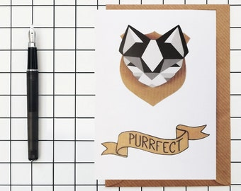 Cat Greetings Card - Purrfect - black and white - blank