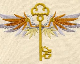 Winged Steampunk Filigree Skeleton Key Embroidered Flour Sack Hand/Dish Towel