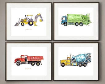 Colorful Construction and Work Vehicles - Watercolor Print Set