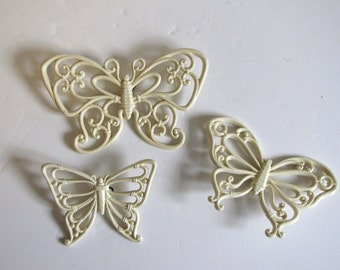 Vintage Off White / Cream  Syroco Butterfly Wall Hanging - set of three