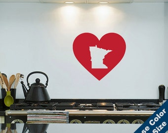 I Heart Minnesota State Wall Decal - Love Sticker - Free Shipping