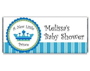 A New Little Prince Boy Baby Shower Candy Bar Wrappers - Prince Baby Shower Favors