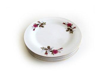 Vintage Moss Rose Salad Plates Set of 4