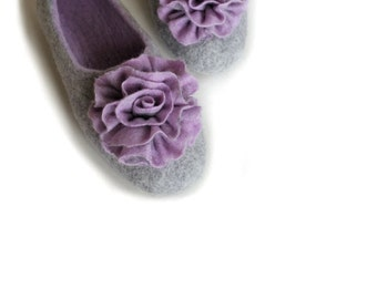 Handmade wool felted slippers with rubber soles - house shoes