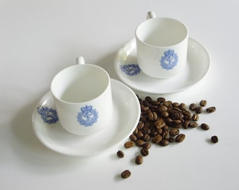 Vintage Royal Canadian Navy, Espresso, Demitasse, Cup and Saucer, Coffee Cups, Strong Coffee, Blueware, Blue and White