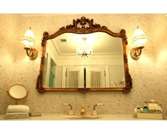 Antique French Rococo Style Gilt Wood Large Mirror. Plaza Suite Fig House Vintage. 4 foot Shield Mirror. Antique Imported.