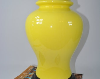 Reduced. Gorgeous Sunny Yellow Ginger Lamp. Large Spring time Lamp. Ginger Lamp. Vintage Living. Fig House Vintage