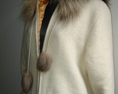 Long White Wool Yukon Parka with Wolverine Fur Trim and Gold Silk Lining