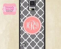 Monogram Galaxy S5 Case - Gray Quatrefoil with Pink Monogram - Rubber or Tough Case
