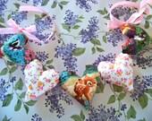 Bambi Heart Garland /  Bambi Banner / Fabric Heart Banner / Bambi Nursery Decor / Thumper / Flower / Childs Wall Decor