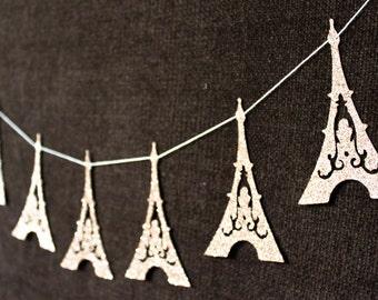 Eiffel Tower Garland - Paris Decoration - Eiffel Tower Bunting - Wedding Decoration - Glitter Decor - France - Bridal Shower - Champagne