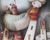 Reserved for Rosa- Knitting houses- Big print of original painting-Knitting illustration