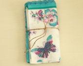 4 Ladies Vintage Hankies - Vintage Floral Butterfly Handkerchiefs - Teal and Raspberry Pink - New Old Store Stock - Printed Organza Hankies