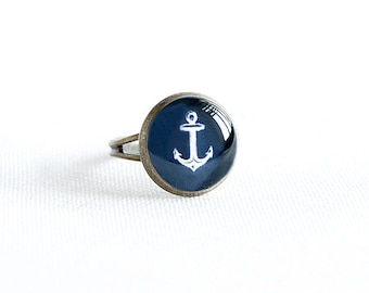 Adjustable anchor ring, nautical jewelry