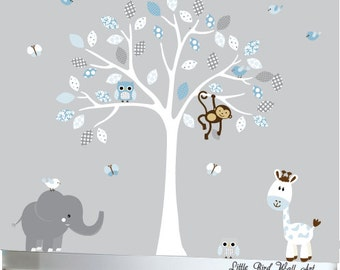 Childrens white tree wall decal jungle nursery set blue and grey - 058