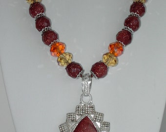 Red Goldstone silver plated necklace (#467) Only one made!