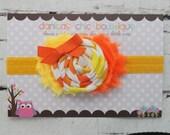 Candy corn headband, candy corn bow, Halloween Inspired Headband, baby girl headband, newborn bow, toddler headband,