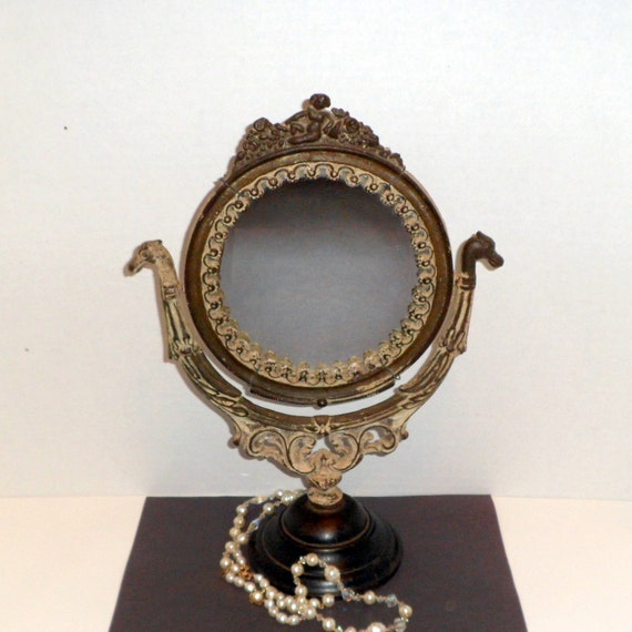 Victorian Vanity Mirror Table Dresser Mirror Cast Iron Painted