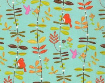 Wren Friends - Floral Leaves Aqua Robins Egg by Gina Martin from Moda