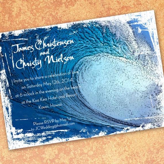 birthday party invitations, Big wave invitations, surf party invitations, beach party, island wedding ceremony, big island wedding, IN296