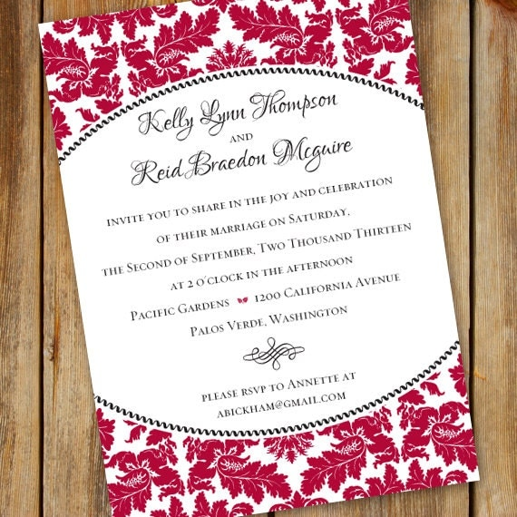 wedding invitation, cherry red wedding invitation, ivory and cranberry wedding, deep red wedding invitation, red party invitation, IN342