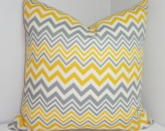 OUTDOOR Yellow Grey Ivory Zig Zag Chevron Indoor/Outdoor Pillow Cover Porch Decorative Pillow 18x18