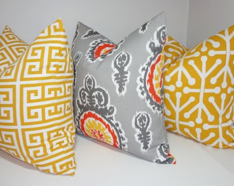 OUTDOOR Pillow Set Suzani Greek Key Geometric Yellow Grey Deck Patio Pillow Cover 18x18