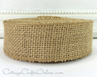 """CLEARANCE!! Burlap Wired Ribbon Beige Tan, 1 1/2"""" Wide Natural Jute - NINE & 1/2 YARDS - Morex, #60114, Prim Craft Wire Edged Ribbon"""