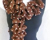 "Ruffle lace fabric ribbon soft scarf hand knitting Ivory dot  on  brown 80"" long"