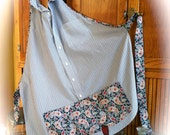 Apron Handmade from Recycled Men's Blue and White Pinstripe Dress Shirt with a Red White and Blue Paisley Print Trim
