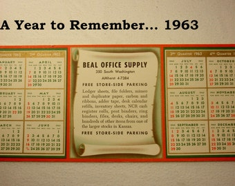 Vintage 1963 Calendar, Beal Office Supply 1963 Calendar, Vintage Calendars - Ephemera Paper, A Year to Remember... Born in 1963, Calendars