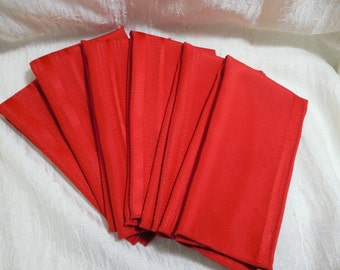 1960s Red Dinner Napkins, Set of 6 Red Mid Century Dinner Napkins, Mid Century Linens, RED Dinner Napkins/Red Dining Decor, Set of 6 Napkins