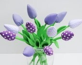 Fabric flowers alternative bouquet of tulip flowers dozen tulips lilac and light violet polka dots birthday gift, bridal shower get well