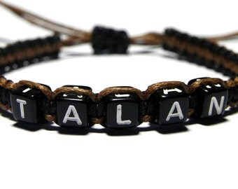 Men's Personalized Bracelet, Name Bracelet, Black Cord Bracelet, Brown Bracelet, Boy Bracelet, Mens Jewelry, Boyfriend Gift, Custom Bracelet