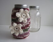 Mason Canning Jar Cozy - Shades of Cranberry and Sage with Cream Flower Appliques