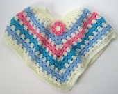Baby Poncho Sweater - Crochet in Vanilla Off White, Blue, Aqua and Pink -  6 to 12 Months with Flower Applique