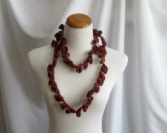 Crochet Motif Necklace in Silky Burgundy, Wine and Brown