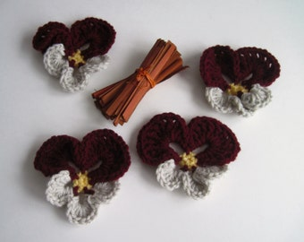 4 Pansy Crochet Flowers - Burgundy and Ecru Off White Pansies In Worsted Weight Yarn - Set of 4 Embellishment Appliques