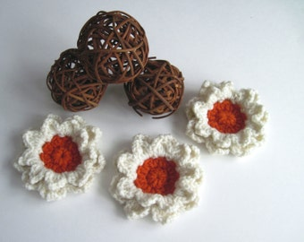 3 Crochet Flower Appliques - Burnt Orange and Creamy Off White - Set of 3 - Large