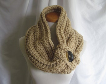 Cowl Chunky Bulky Button Crochet Cowl: Beige Camel Tan with Brown Button