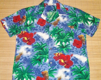 Men's Vintage 60s Rayon Tribal Pineapple Hawaiian Rockabilly Shirt - S - The Hana Shirt Co