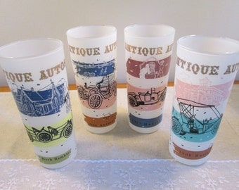 Antique Auto tumblers frosted glass tumbler 4 piece set vintage frosted tumblers mid century tumblers retro kitchen