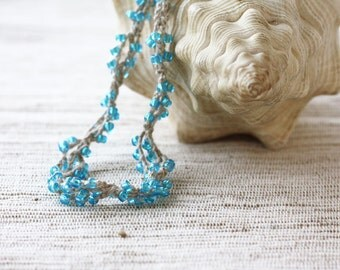 Blue beaded necklace Crochet jewelry Linen necklace with blue glass beads Rustic Natural Boho chic Bohemian Hippie Gift for her Summer