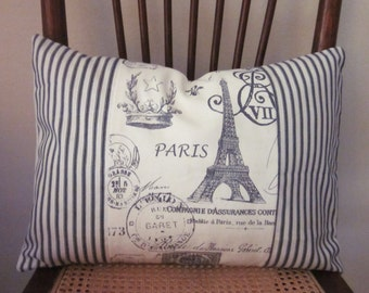 "Ticking Pillow Covers, Decorative Pillow, Lumbar 12"" x 16"", Black and Beige Ticking and Paris Pattern"