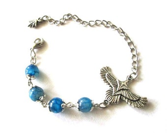 Eagle bracelet blue agate stone jewelry antiqued silver vintage style blue bird bracelet