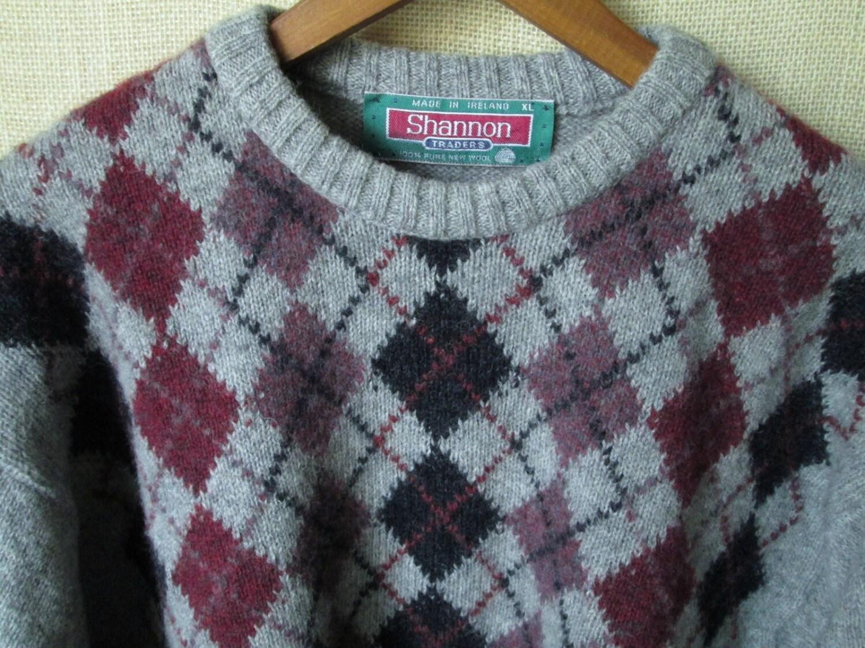 Knitting Pattern Argyle Sweater : Argyle Sweater Oversized Pullover Wool Crewneck boyfriend