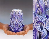 Carved candles - Unique carved candles - Unique gift - Purple candle - Medium candle