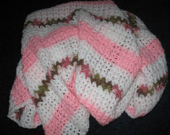 SALE - 33 x 37 Crocheted Pink, Pink Camo and White Baby Afghan / Blanket / Throw