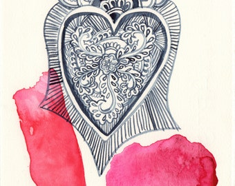 Hot Pink Sacred Heart Mehndi Print-no.16